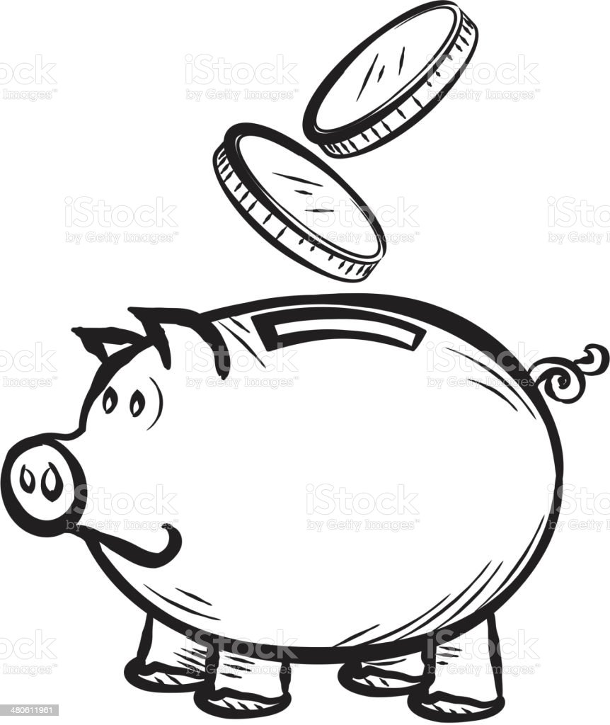 piggy bank with coins falling concept stock vector art 480611961