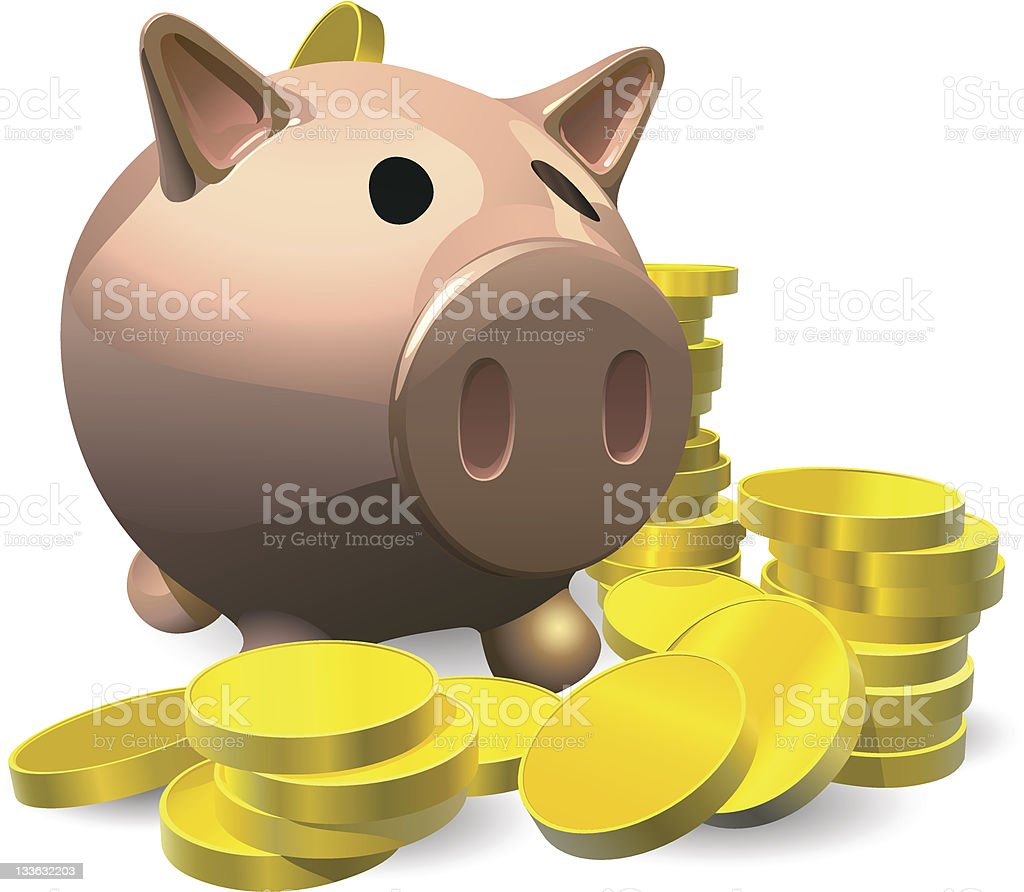 Piggy bank with gold coins illustration royalty-free stock vector art