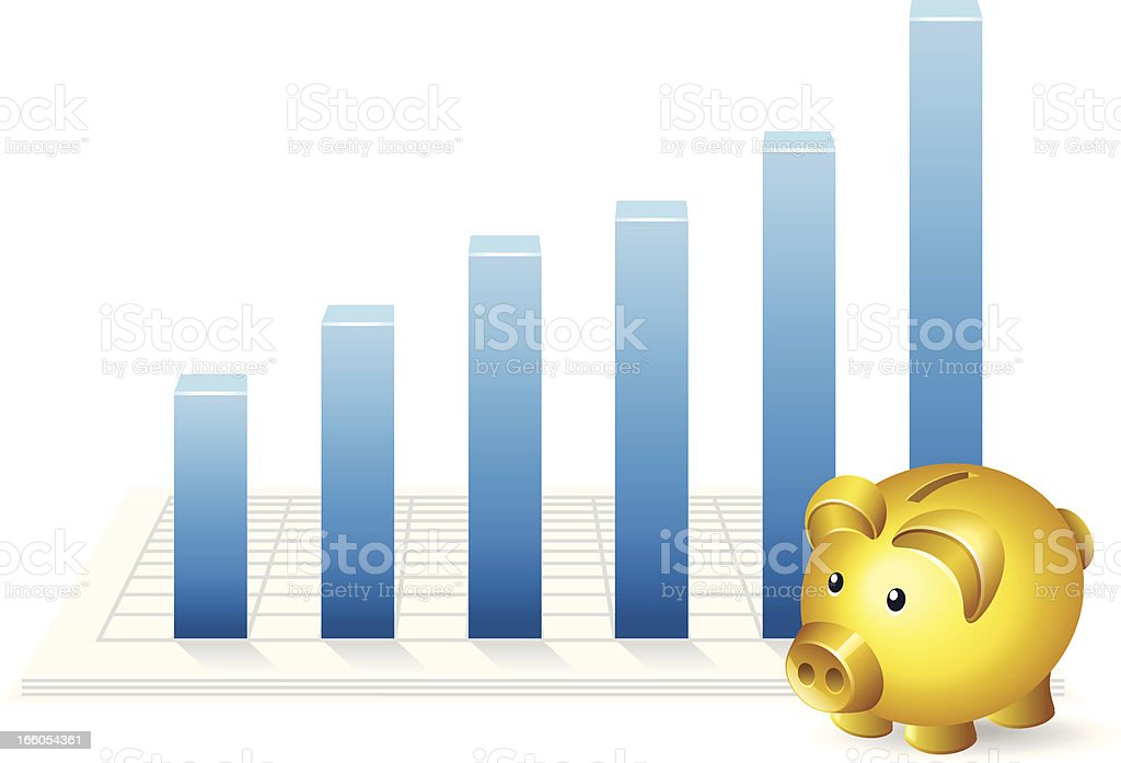 Piggy Bank with Growth Chart royalty-free stock vector art