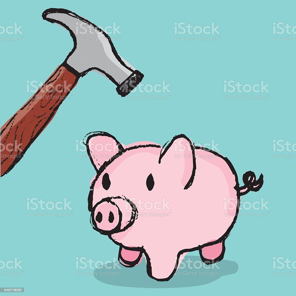 Piggy Bank with Hammer vector art illustration