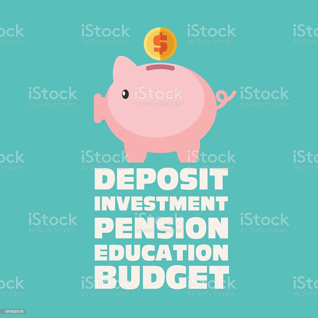 Piggy bank with inscriptions: education, deposit, investment, pension, budget vector art illustration