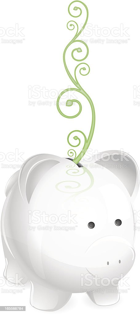 Piggy bank with vines. Financial growth concept. vector art illustration