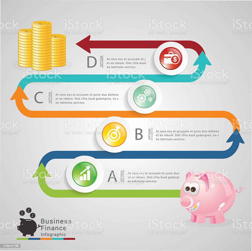 Piggy banking infographic vector art illustration
