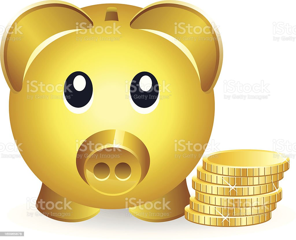 Piggybank and Gold Coins vector art illustration