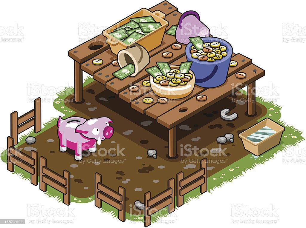 Piggybank hungry for money royalty-free stock vector art