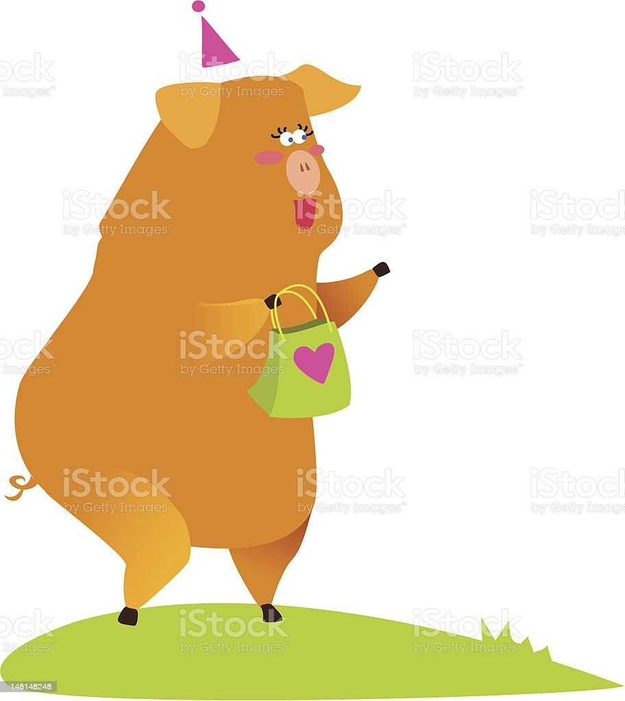piglet with a present royalty-free stock vector art