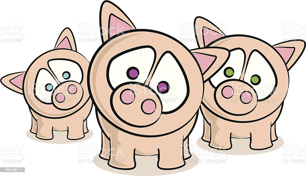 Piglets Cartoon royalty-free stock vector art