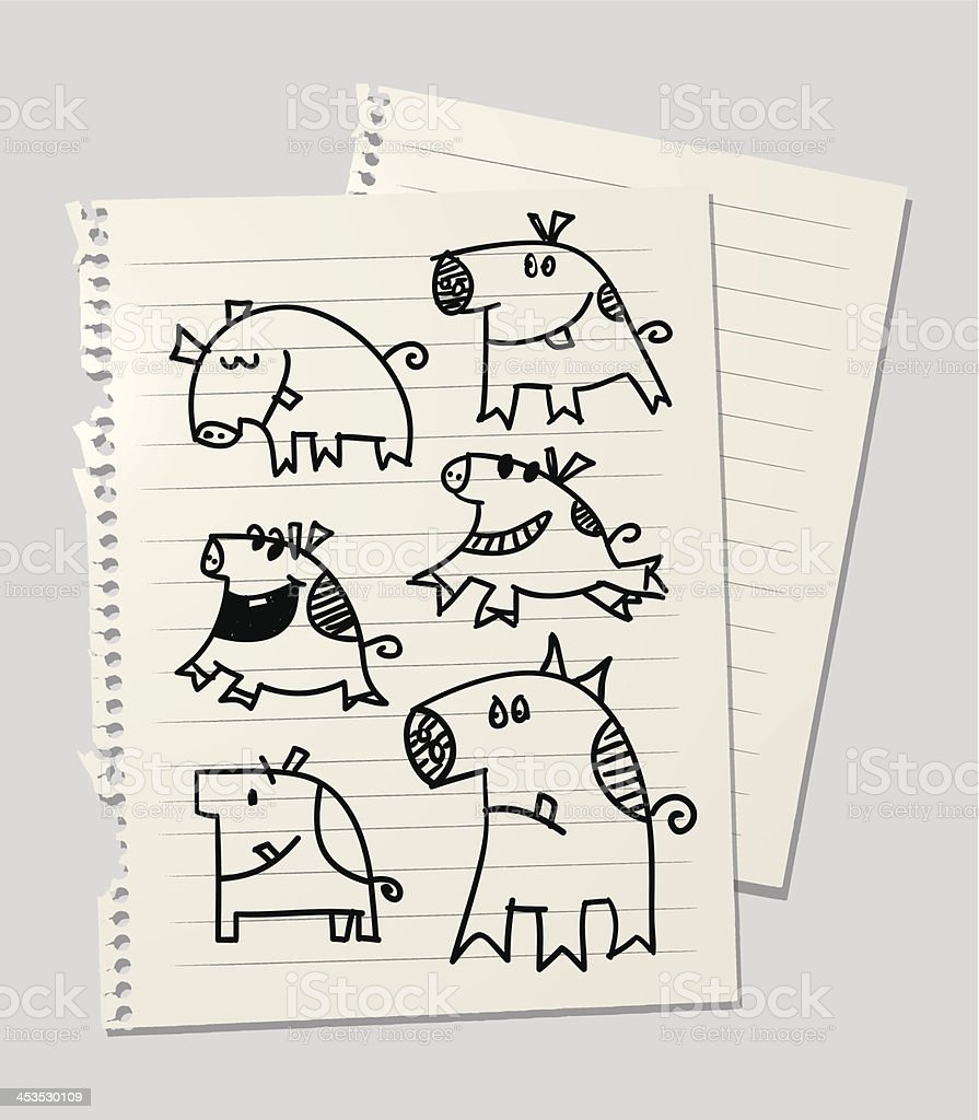Pigs and piggys royalty-free stock vector art