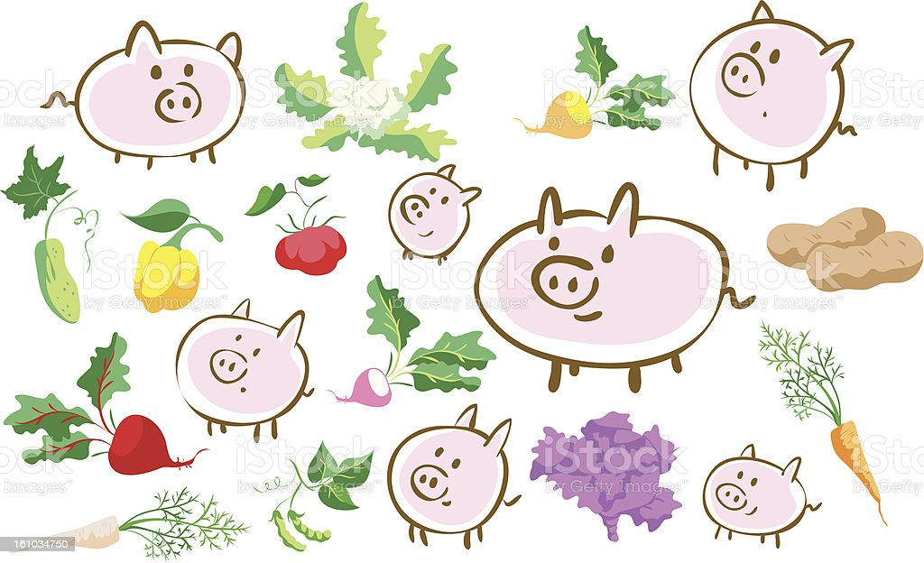 Pigs and vegetables royalty-free stock vector art