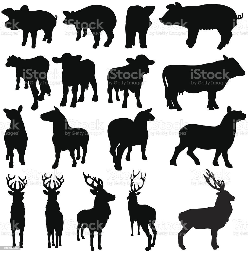 Pigs, cows, sheep and deer silhouettes vector art illustration