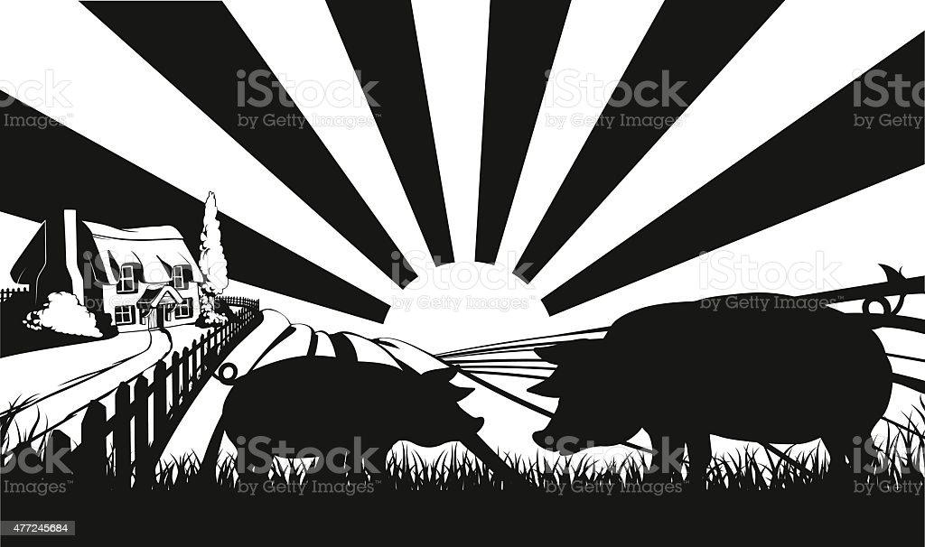 Pigs in silhouette in farm field vector art illustration
