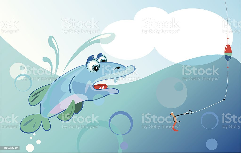 pike and worm royalty-free stock photo