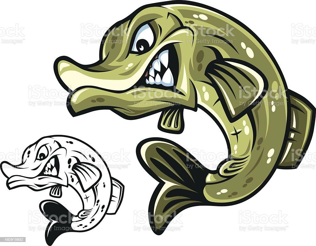Pike Fish Mascot vector art illustration