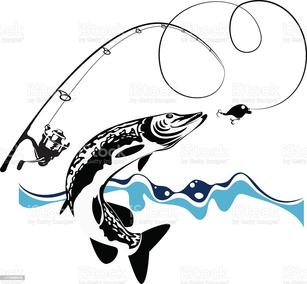 Pike fishing lure, vector illustration vector art illustration