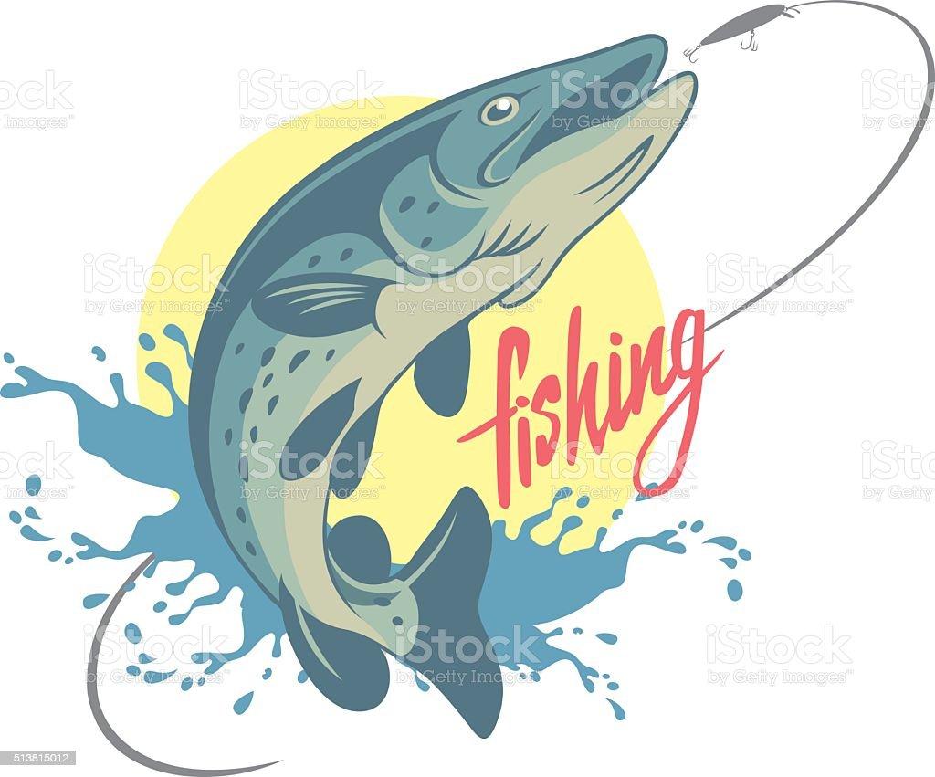 pike fishing vector art illustration