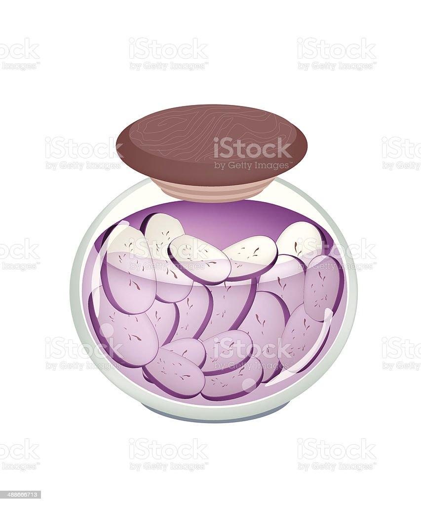 Pikled Slice Purple Eggplant in A Jar vector art illustration