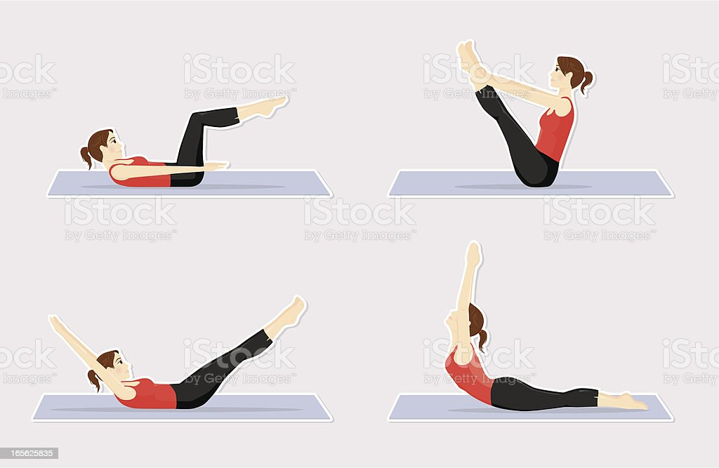 Pilates positions royalty-free stock vector art