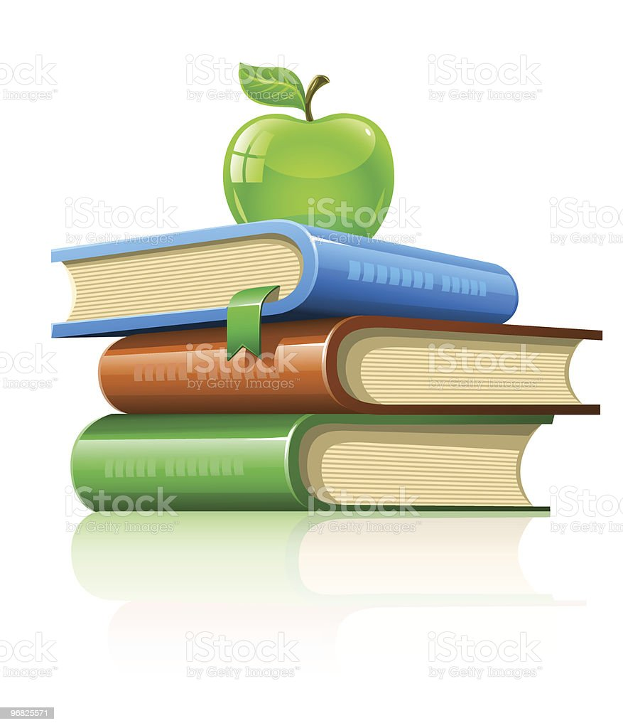 pile book with green apple royalty-free stock vector art