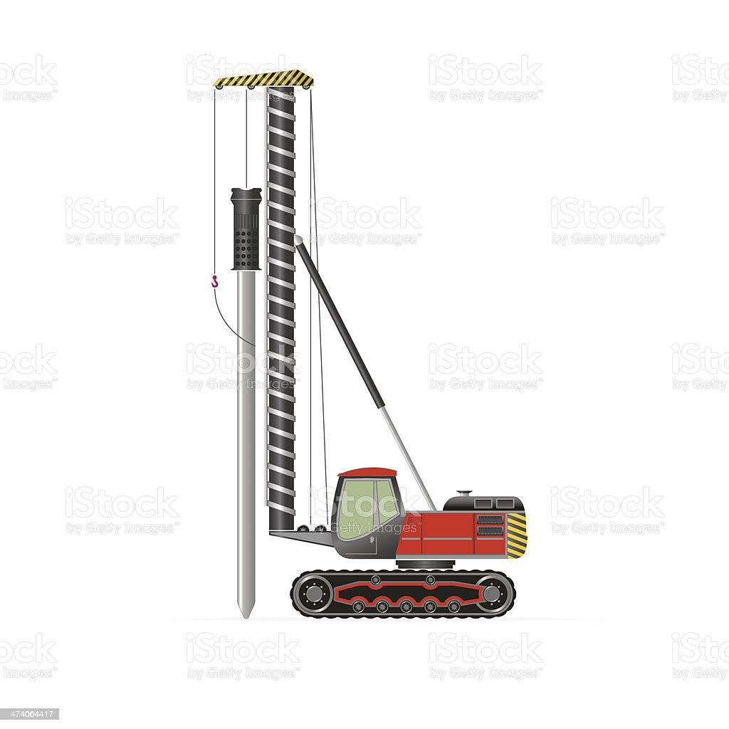 Pile driver vector art illustration