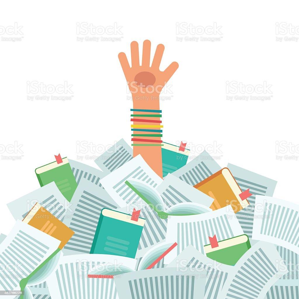 Pile of books and Overwhelmed student vector art illustration
