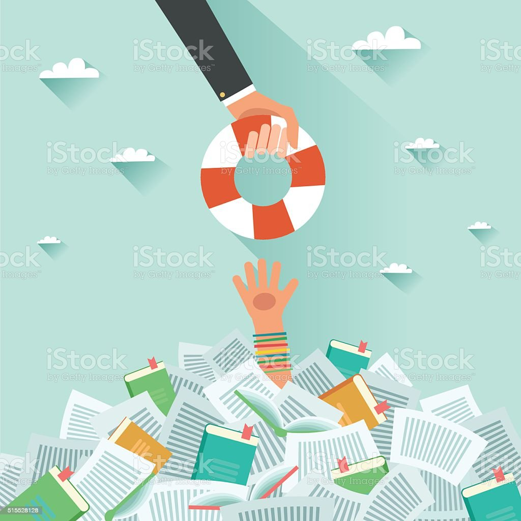 Pile of books and Overwhelmed student vector art illustration