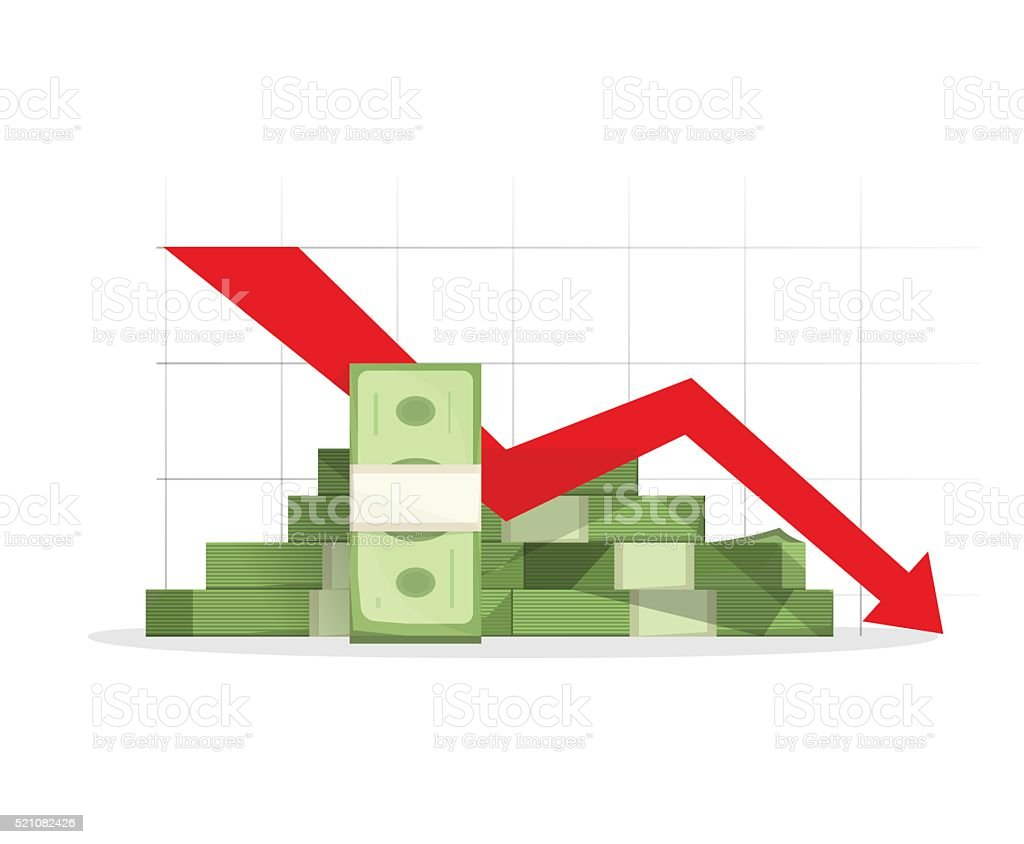 Pile of cash red recession graph with downward arrow vector art illustration