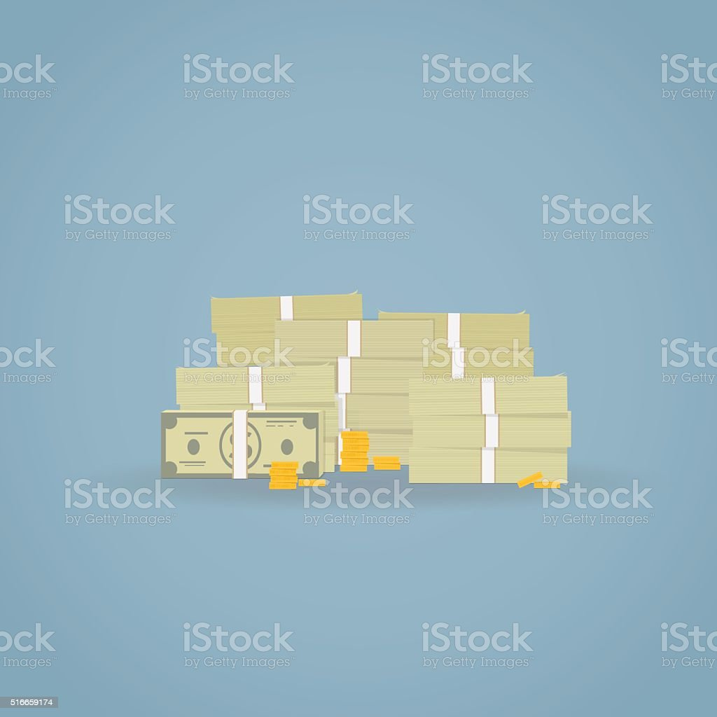 Pile of cash. vector art illustration