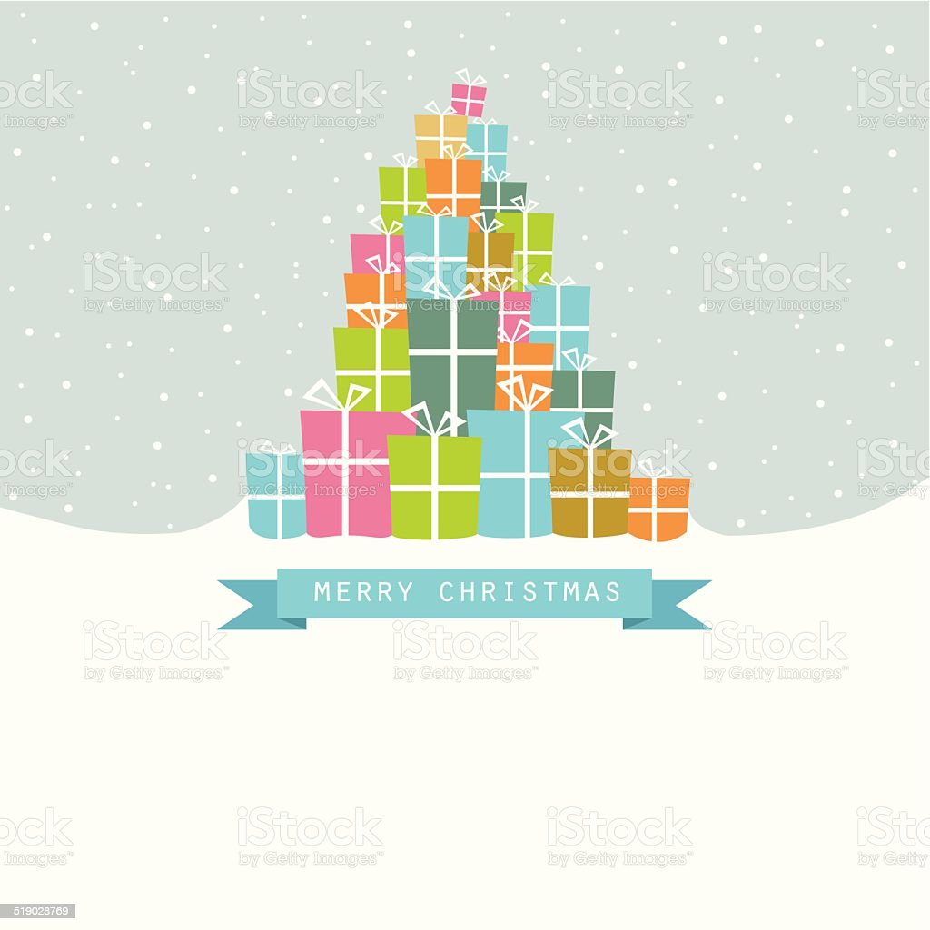 Pile of Christmas gifts in the snow vector art illustration