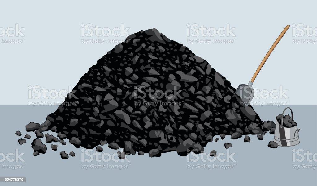 Pile of coal vector art illustration