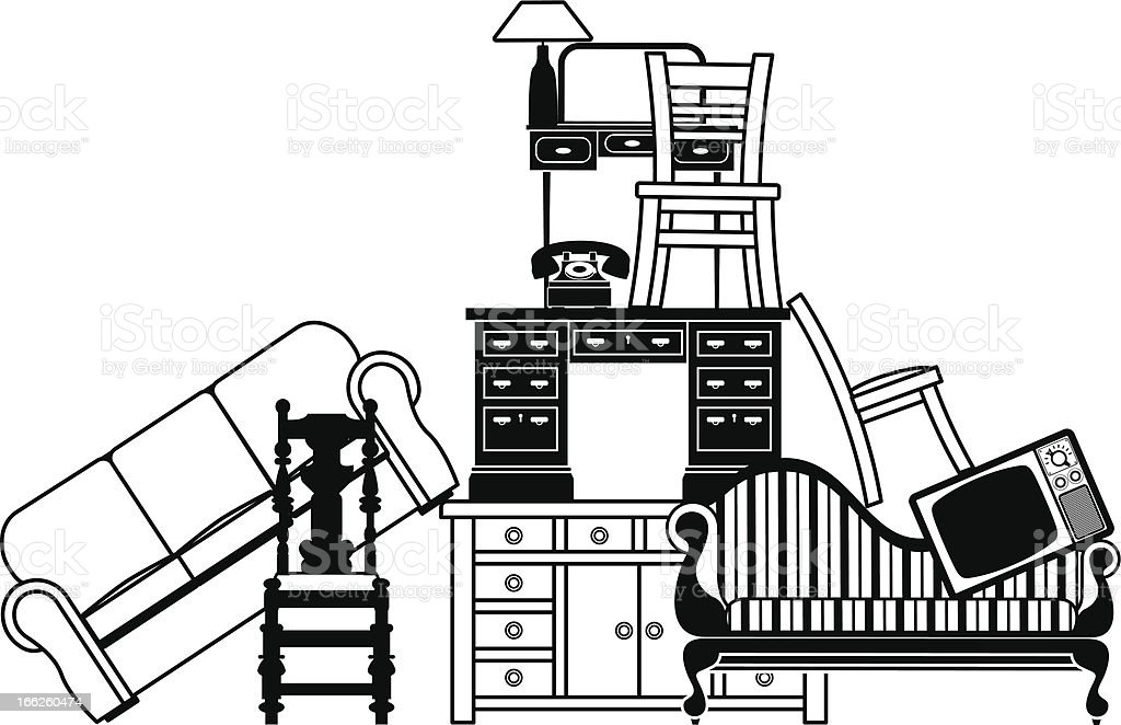 Pile of furniture royalty-free stock vector art