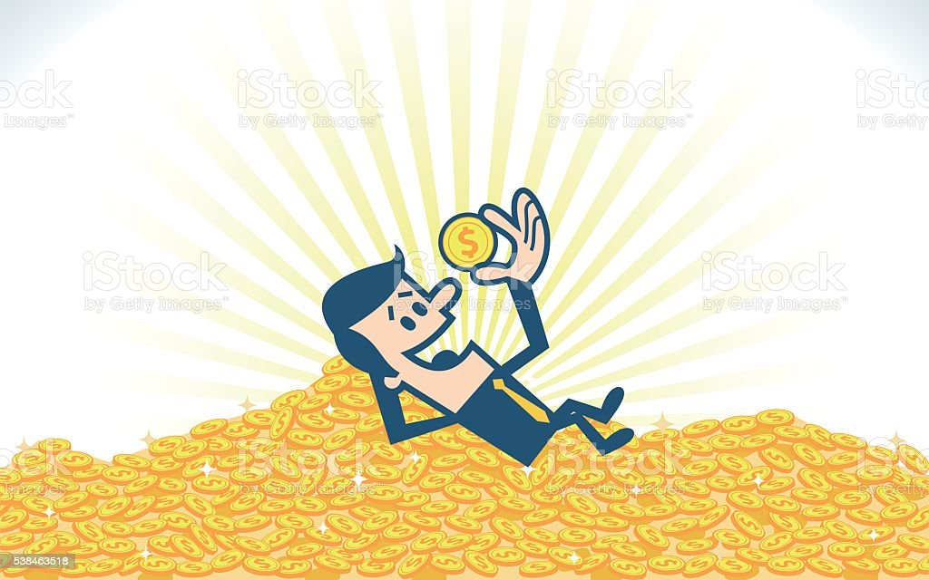Pile of gold coins vector art illustration