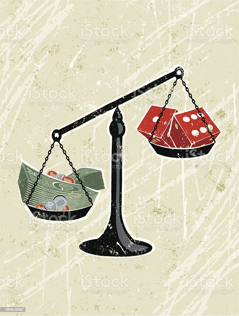 Pile of Money Being weighed against Dice vector art illustration