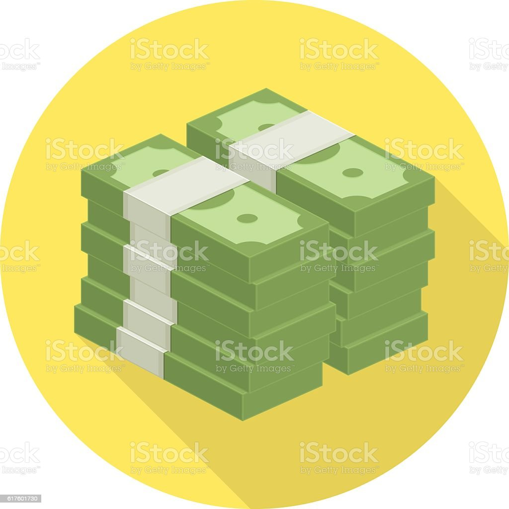 Pile of money vector icon. vector art illustration