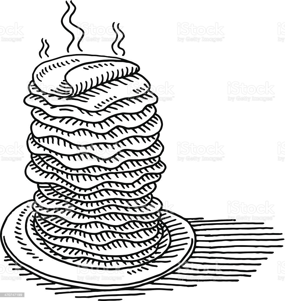 Pile Of Pancakes Drawing vector art illustration