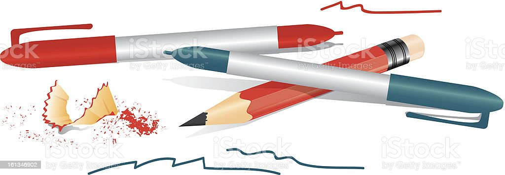 Pile of pencils and pens royalty-free stock vector art