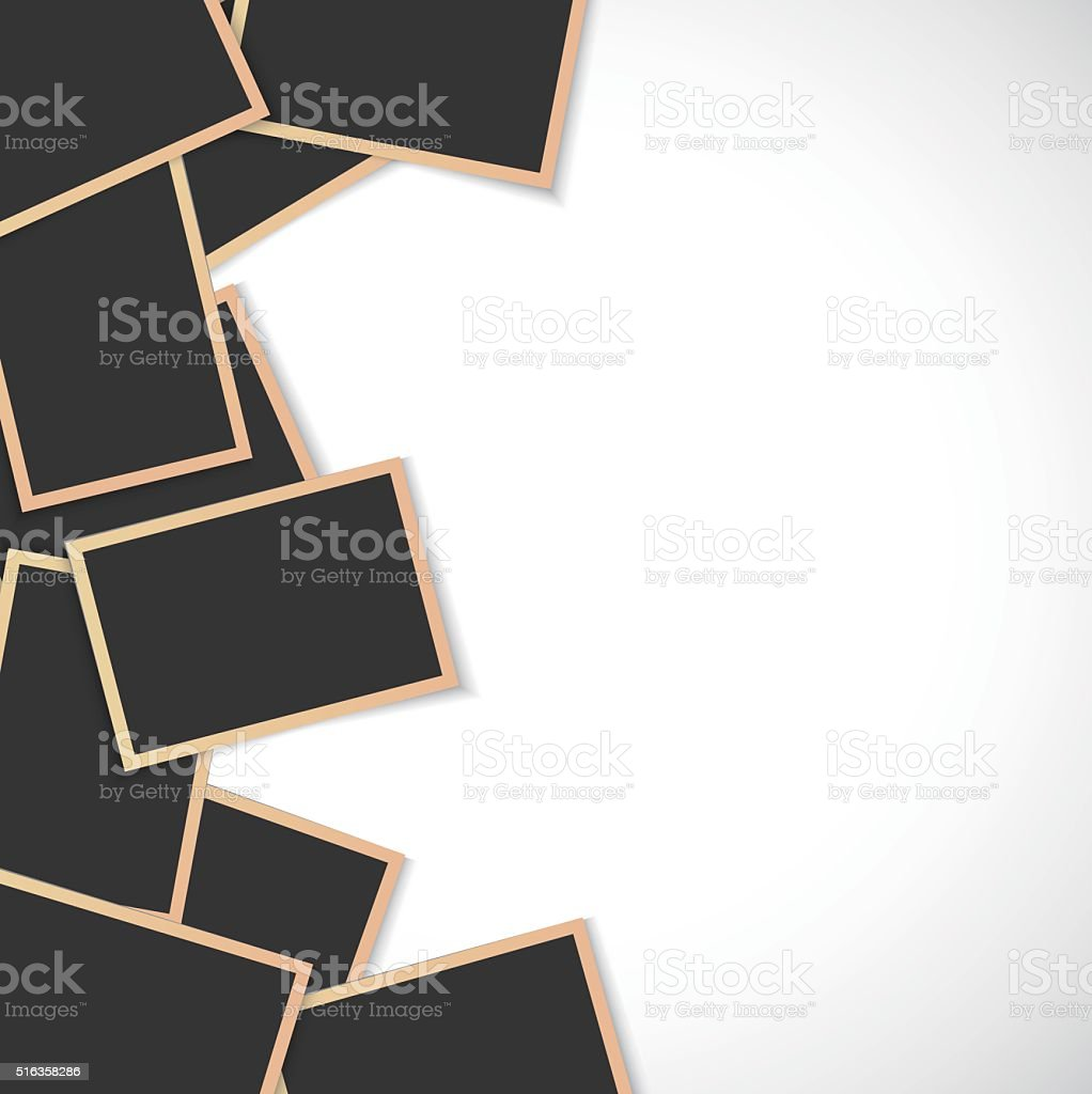 Pile of photo frames on white background vector art illustration