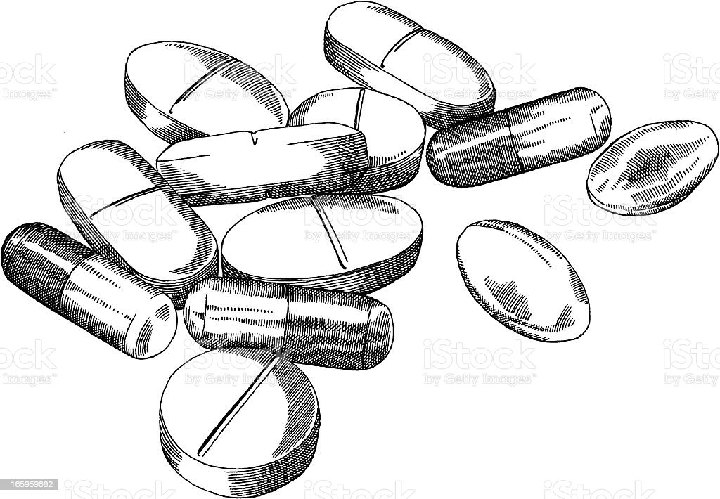 Pile of pills stock vector art 165959682 istock for How to draw a pill