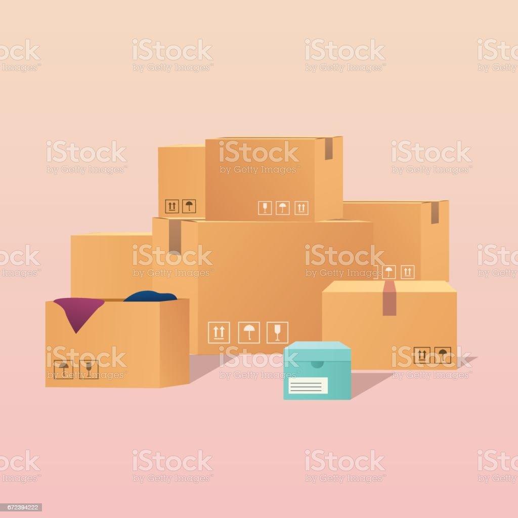 Pile of stacked sealed goods cardboard boxes. Flat design modern vector illustration concept. vector art illustration
