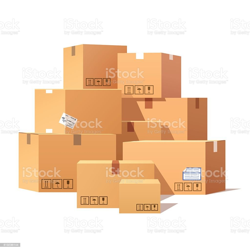 Pile of stacked sealed goods cardboard boxes vector art illustration
