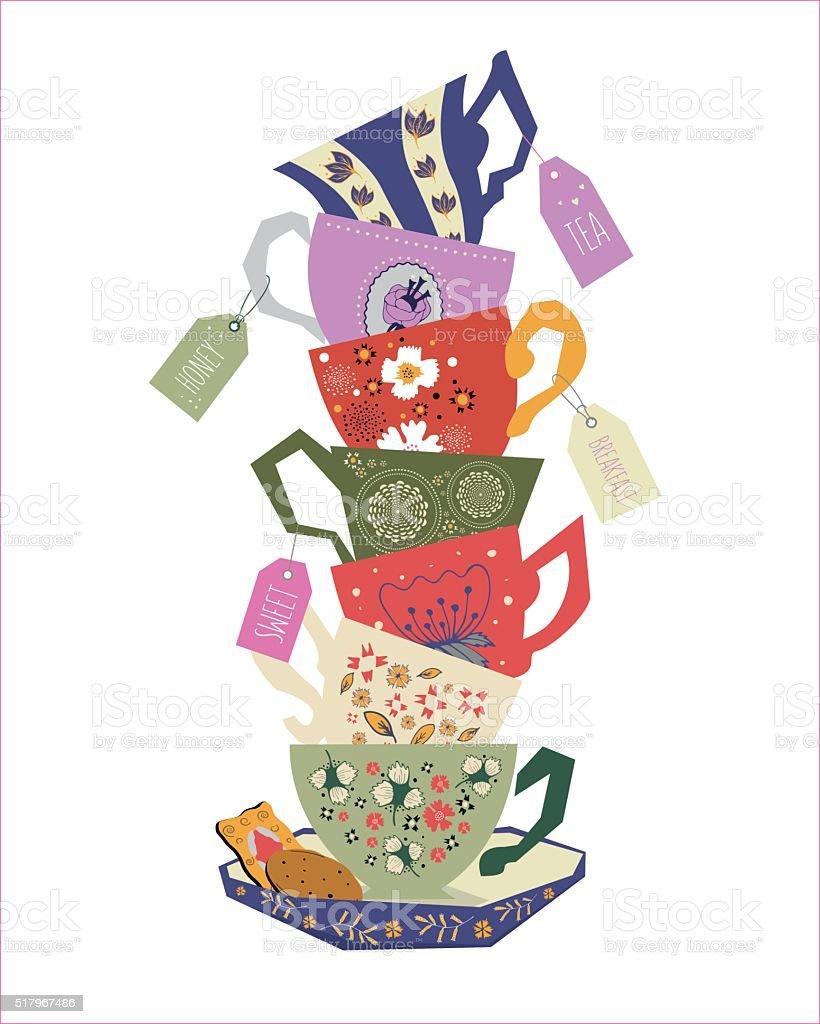 Pile of teacups. vector art illustration