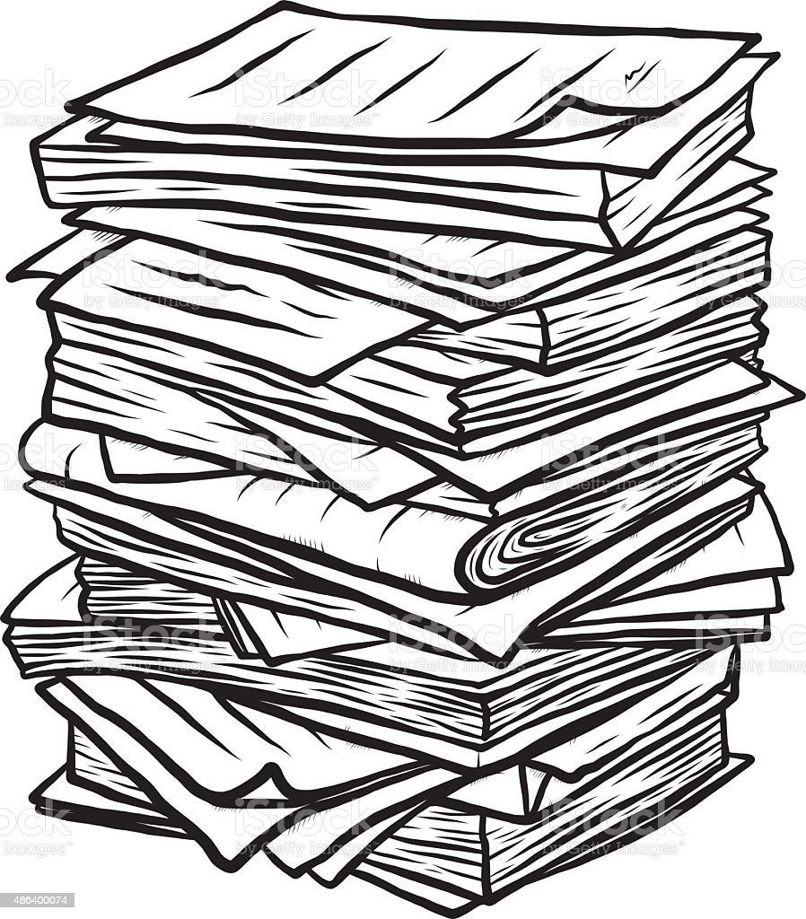 pile of used papers vector art illustration