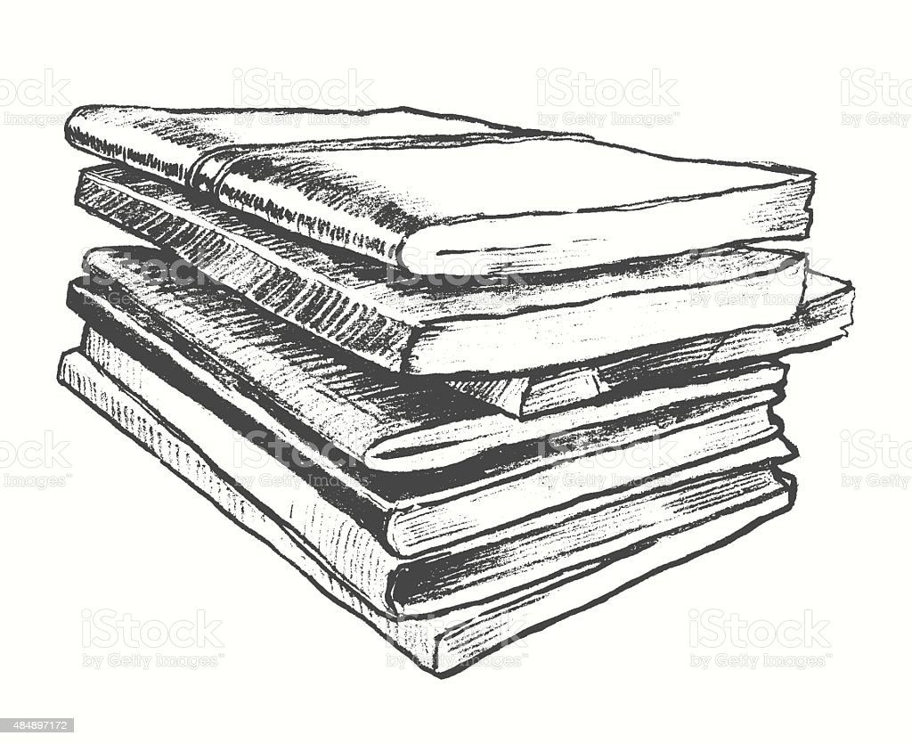 pile old books vintage drawn vector sketch stock vector