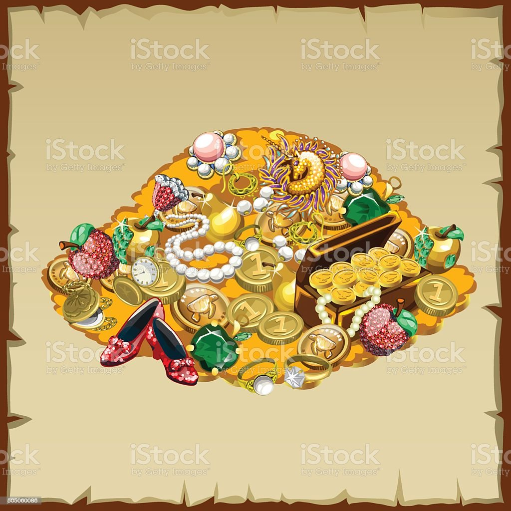 Pile treasures, jewelry and other riches of the mountain vector art illustration