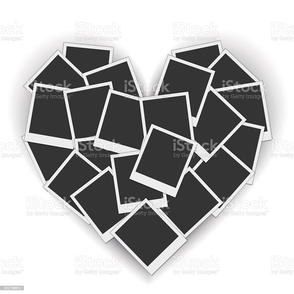 Piled blank photo frames in a heart shape vector art illustration