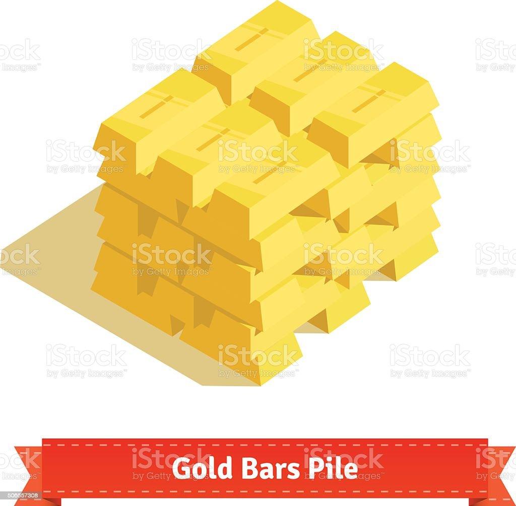 Piles of gold bars or ingot vector art illustration