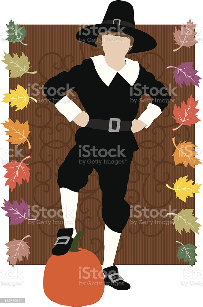 Pilgrim Boy with Pumkin, Leaves and Swirl Background royalty-free stock vector art