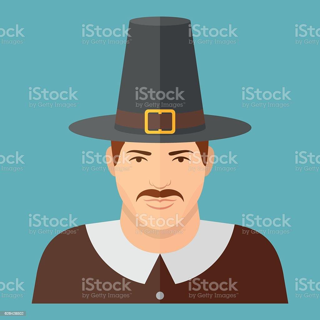 Pilgrim character on blue background. Man face flat icon. vector art illustration