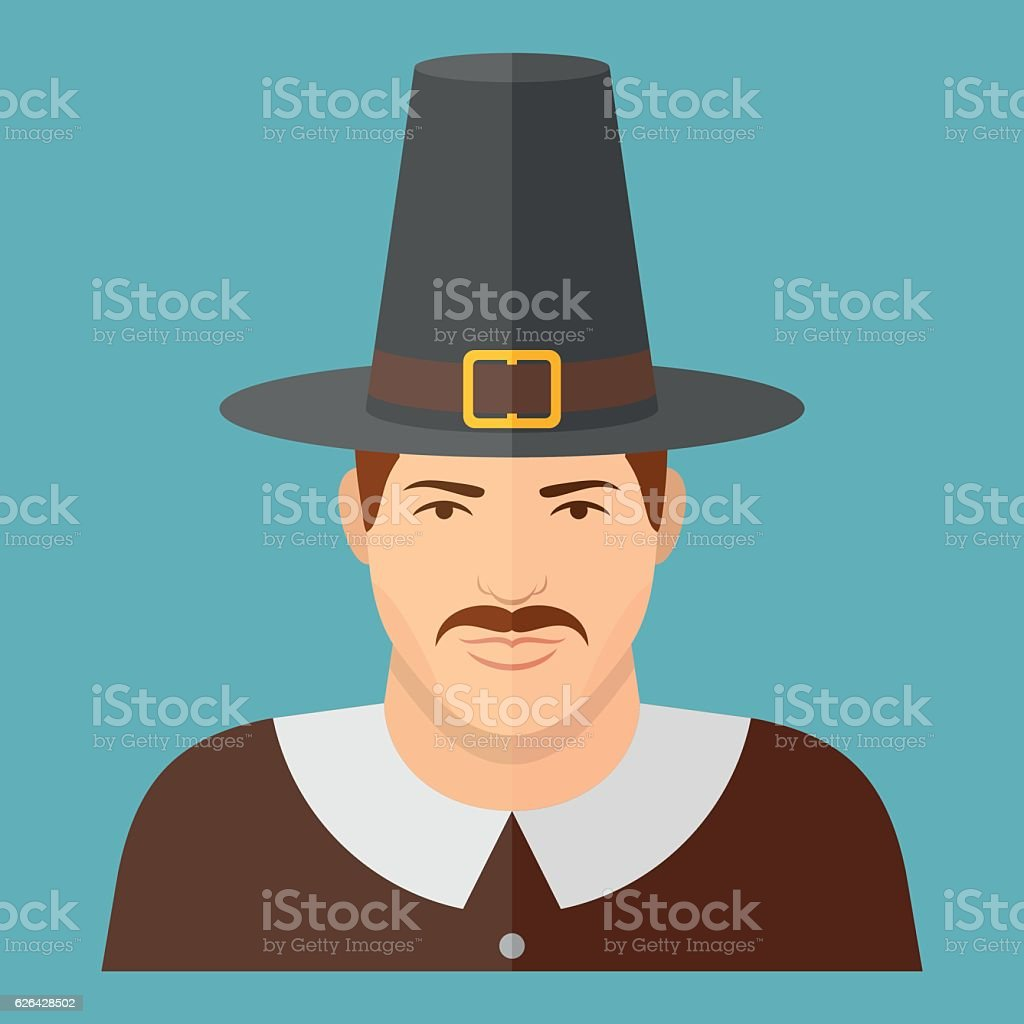 Pilgrim character on blue background. Man face flat icon. vector art illustration
