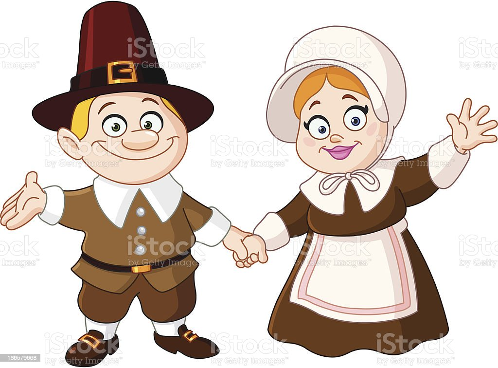 Pilgrim couple royalty-free stock vector art