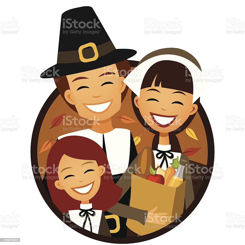Pilgrim Family with Modern Groceries royalty-free stock vector art